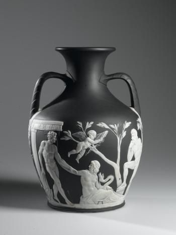 Copy Of The Portland Vase Of Solid Black Jasper Ware With White