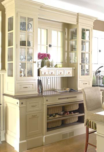 Kitchen Hutch Ideas | Small workspace, Glass front cabinets and ...