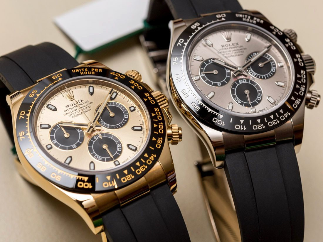Rolex cosmograph daytona watches in gold with oysterflex rubber