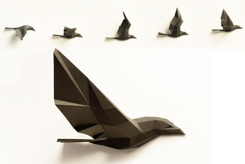 Download Paperwolf paper craft DIY trophy designs. (With images)   Paper sculpture, Paper animals, Paper ...