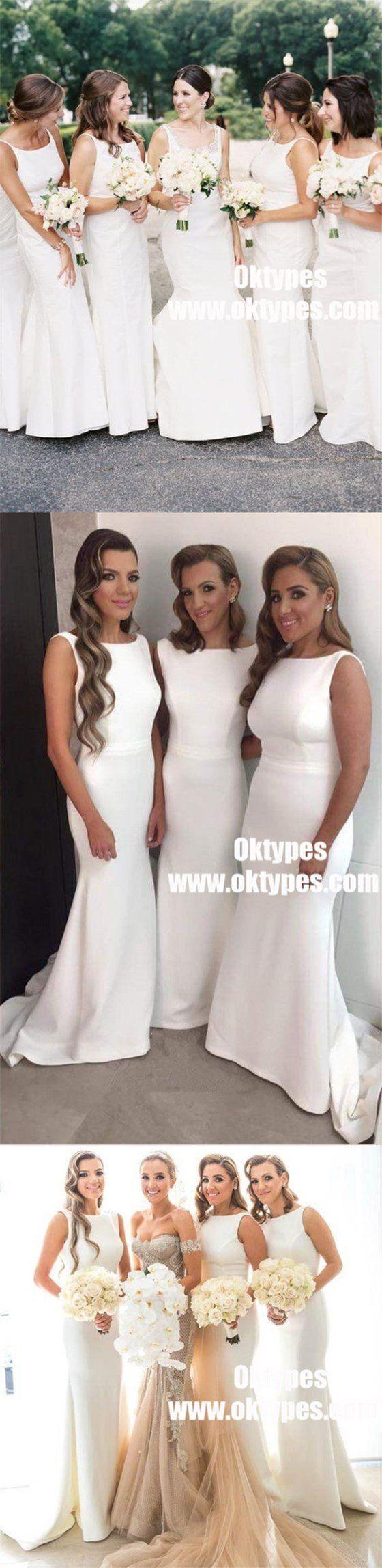 Sheath round neck sleeveless white satin bridesmaid dresses typ