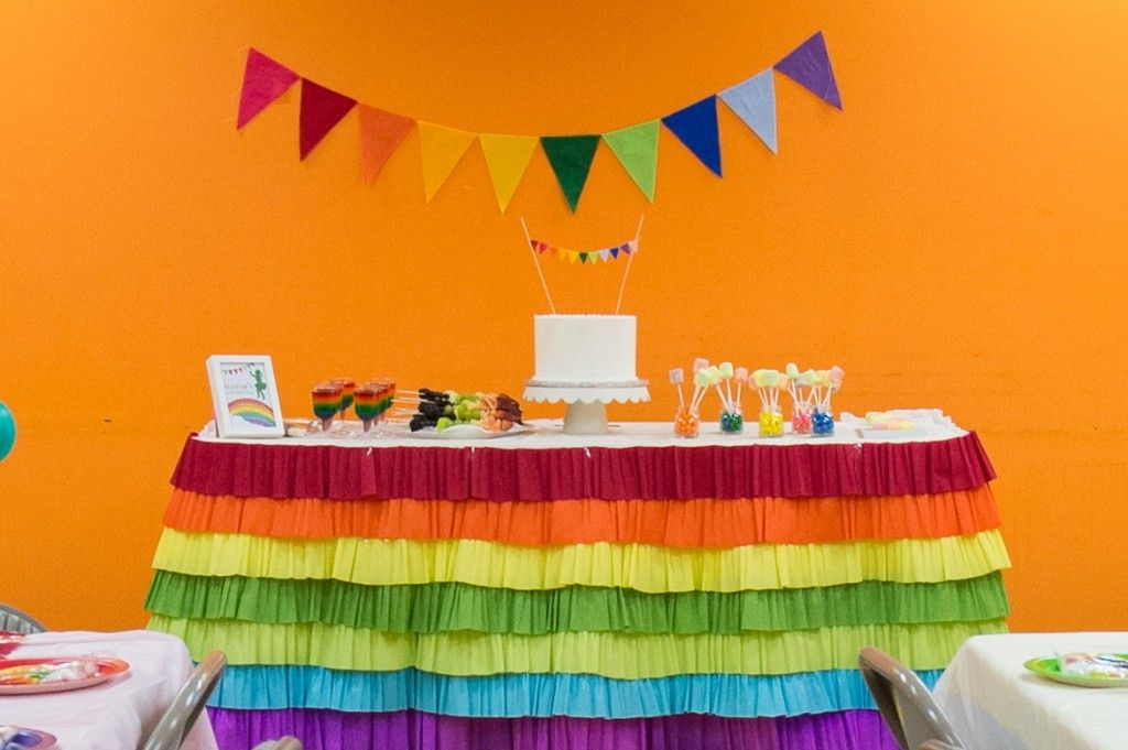 DIY Wednesday: {Rainbow Table Skirt} White tablecloth with ...