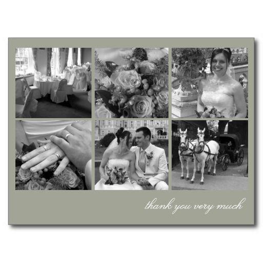 Green grid collage 6 photos memories thank you postcard