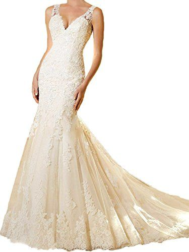 Lavaring Womens LaceApplique Deep VNeck Sleeveless Backless Mermaid Dress White US10 * Read more reviews of the product by visiting the link on the image.