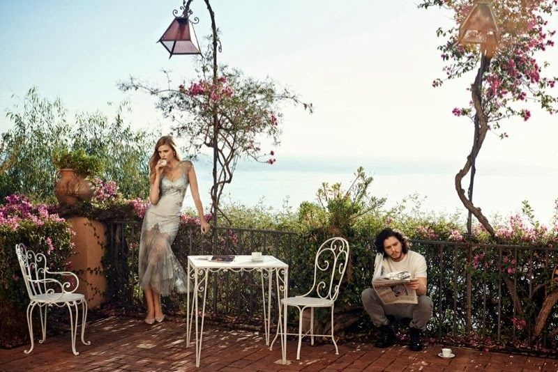 Lara Stone and Kit Harington | Vogue US March 2014 | Shot in Taormina, Sicily