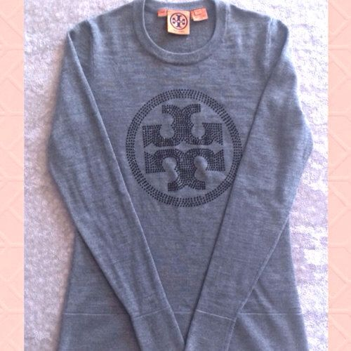 Gray Tory Burch Sweater with Rhinestone Accent Logo. In excellent condition can be worn with Jeans or a pair of nice slacks.