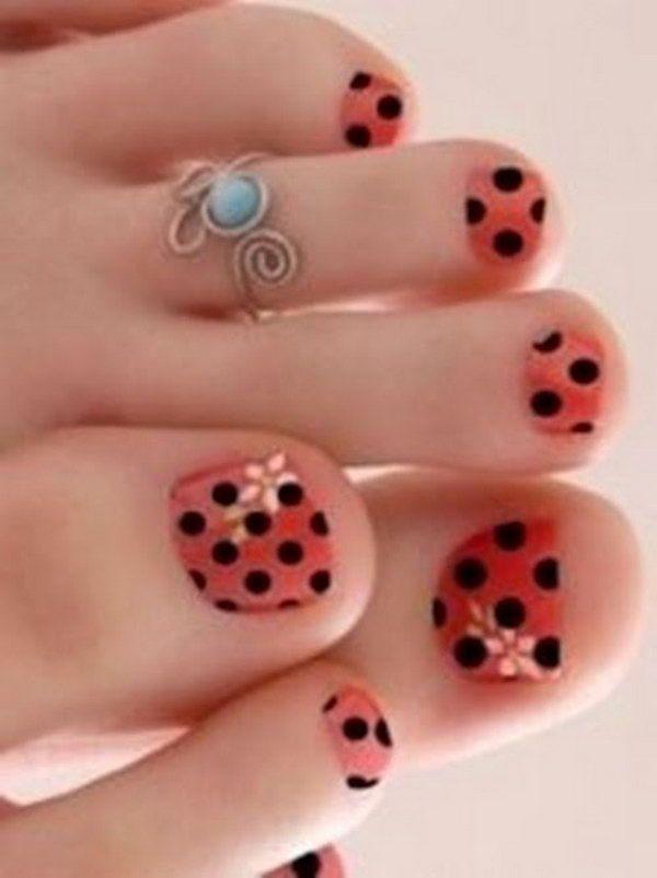 Orange and black polka dots toe nails nails pinterest orange and black polka dots toe nails prinsesfo Image collections