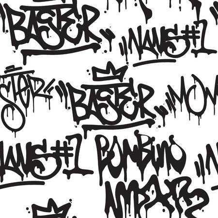 Modele Sans Couture De Balises De Vecteur Mode Graffiti Noir Et Blanc Main Dessin Design Texture Dans Le Hip Hop Street Art Style Pour T Shirt Skateboard Texti Graffiti Vecteur Noir Et Blanc