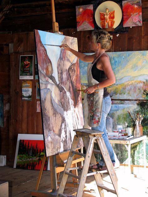 Holly Friesen working in her studio