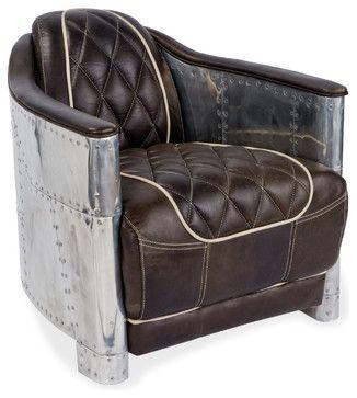 Aarnio Industrial Loft Aluminum Espresso Black Leather Arm Chair industrial armchairs