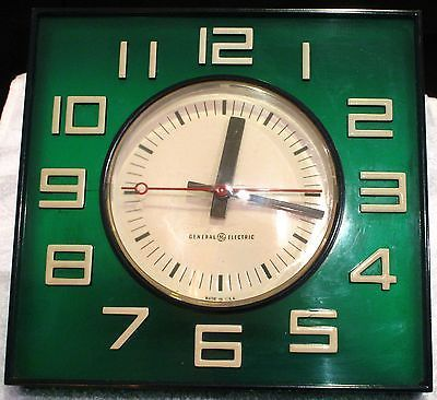 Vintage 60 S Ge Square Transluscent Green Wall Clock With White Numbers Green Wall Clocks Wall Clock Clock