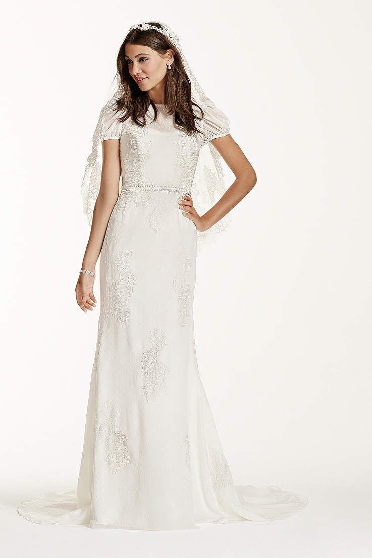 View Short Sleeves Long Wedding Dress At David S Bridal Wedding Dresses Long Wedding Dresses Dresses [ 1106 x 737 Pixel ]