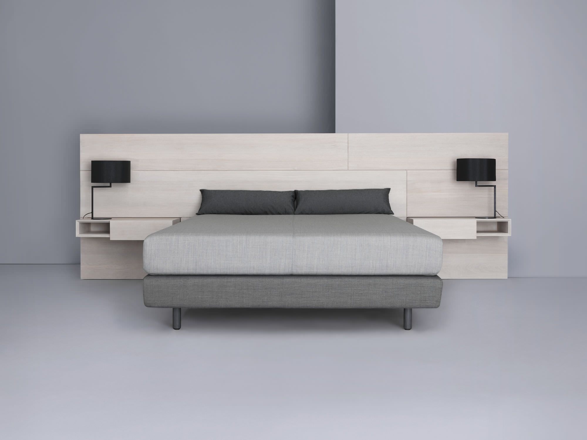 Contemporary double bed with integrated bedside table - MIUT PANEL & BOX by  Julia Fellner -