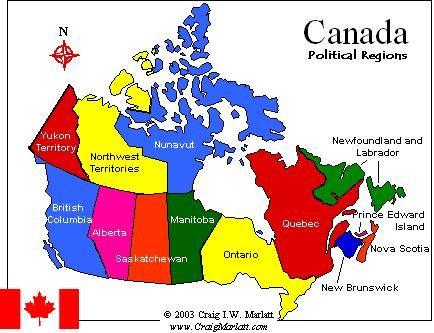Map Of Canada Labeled With Provinces And Territories