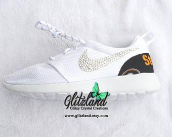 Swarovski Nike White Roshe Run w/ Pittburgh Steelers Print Heel Blinged  with SWAROVSKI® Crystals