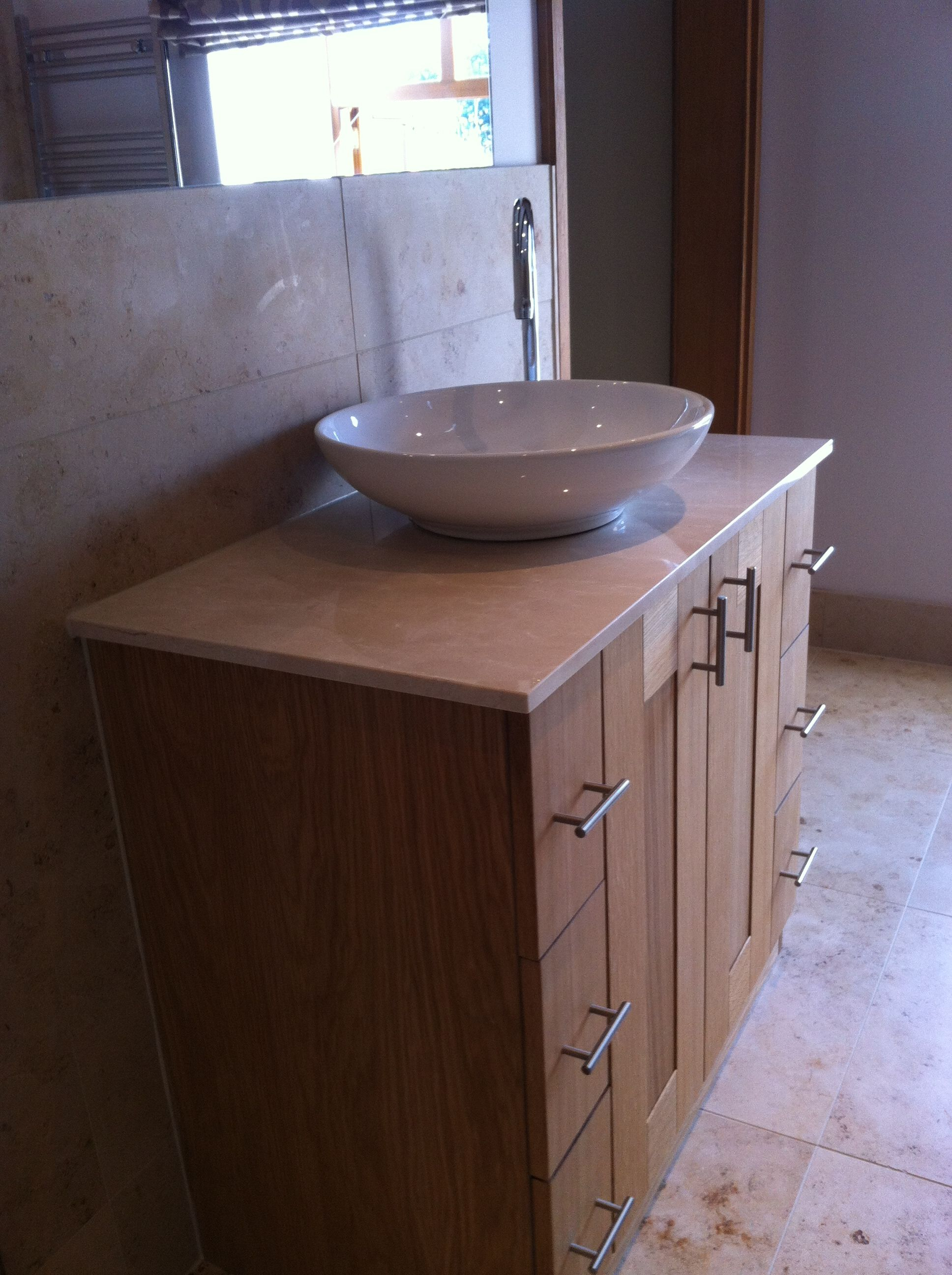 Custom Made Oak Vanity Unit With Shallow Sit On Basin Crema Marfil Marble Countertop Bathroom Designed Installed By Doug Cleghorn Bathrooms