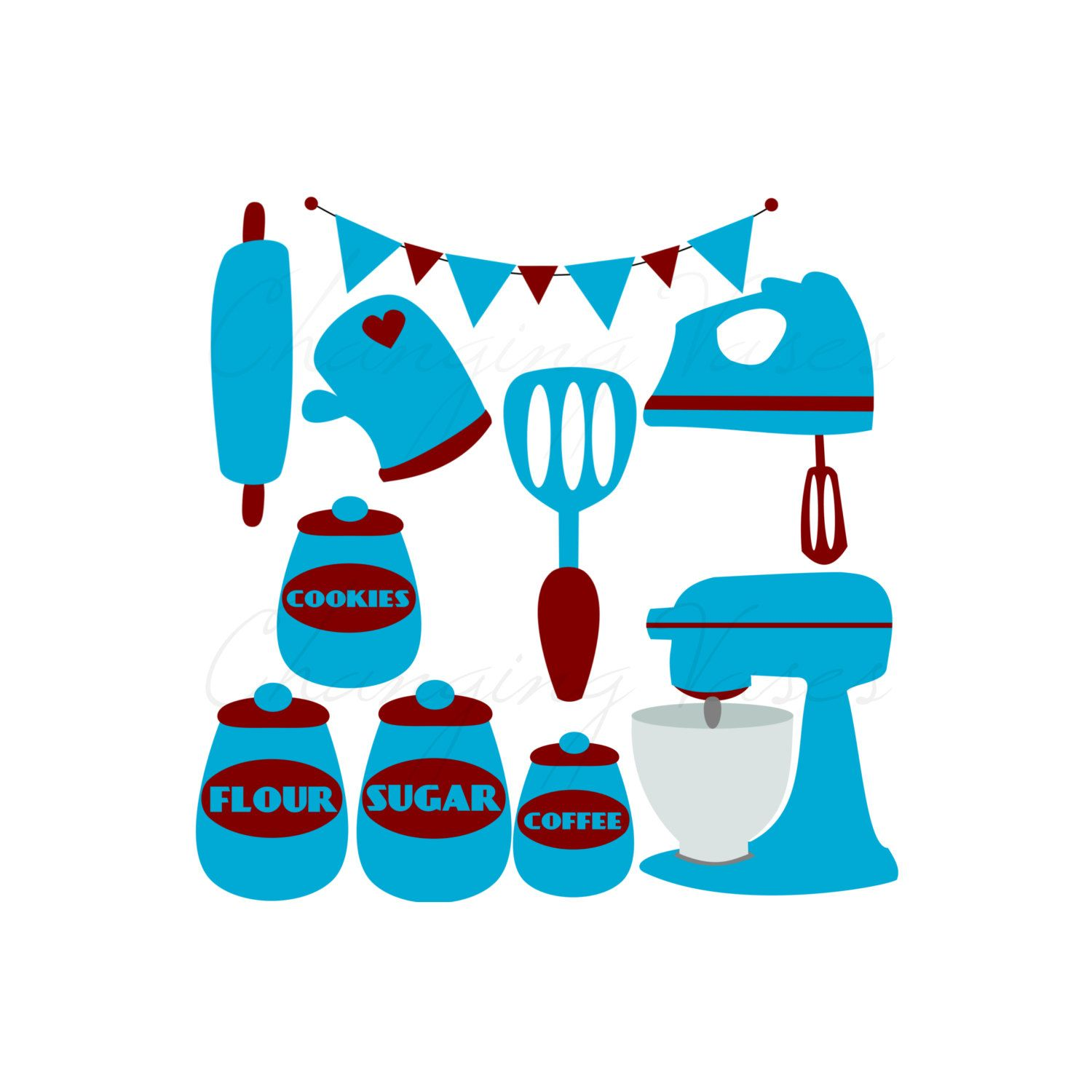 Digital Retro Kitchen Clipart Clip Art Graphics by ChangingVases ...