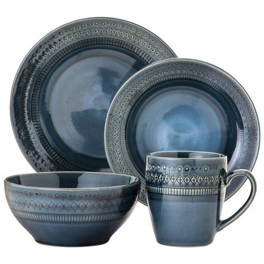 Kingsland 16pc Dinnerware Set Blue - Threshold  sc 1 st  Pinterest & Kingsland 16pc Dinnerware Set Blue - Threshold | Casual dinnerware ...