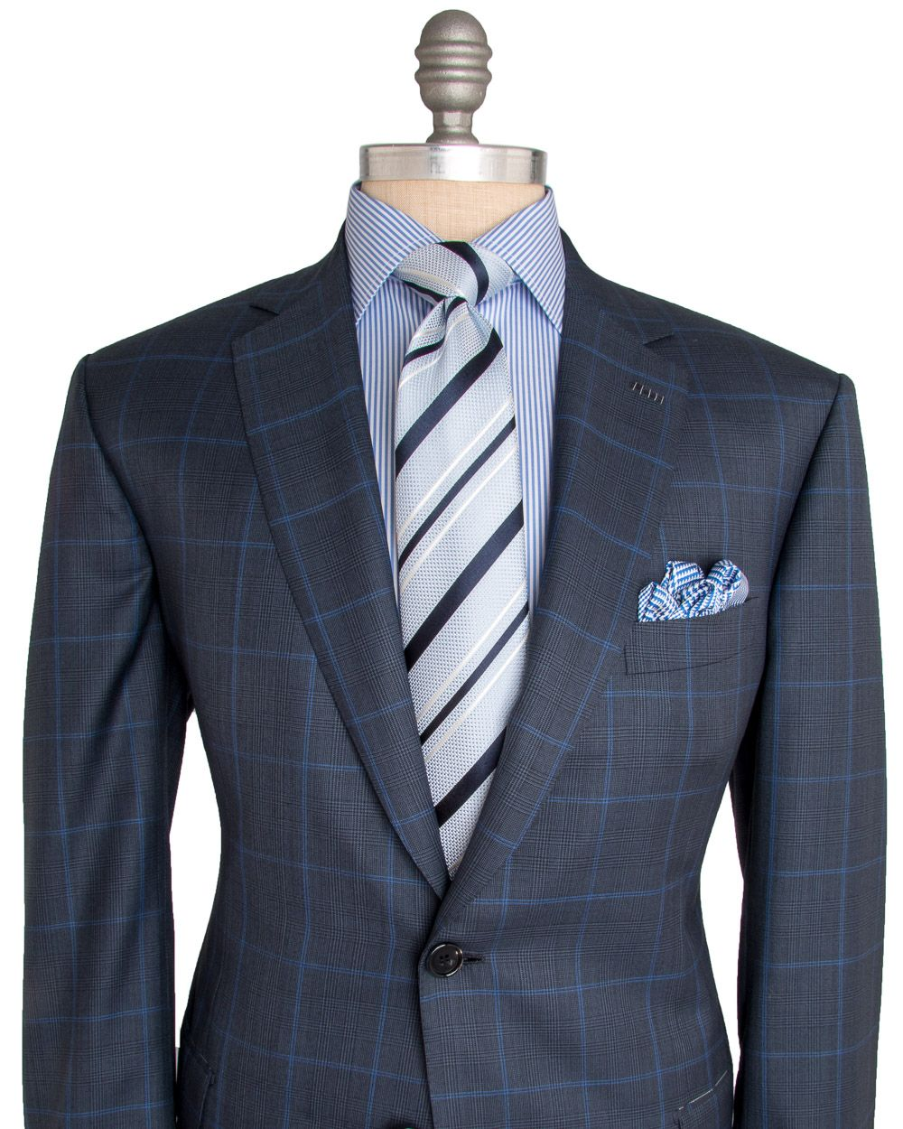 Brioni Navy and Blue Plaid Suit 2 button jacket Notch lapel Blue ...
