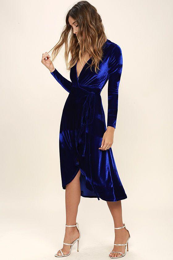 Blue Long Wrap Velvet Belt - OS / BLUE I Saw It First hkPFYjUh0L