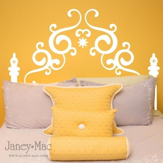 Queen Headboard Wall Decal - Swirl Fancy Vinyl Wall Art - Bedroom ...
