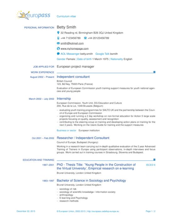 Europass Cv format Na Srpskom in 2020 Resume examples