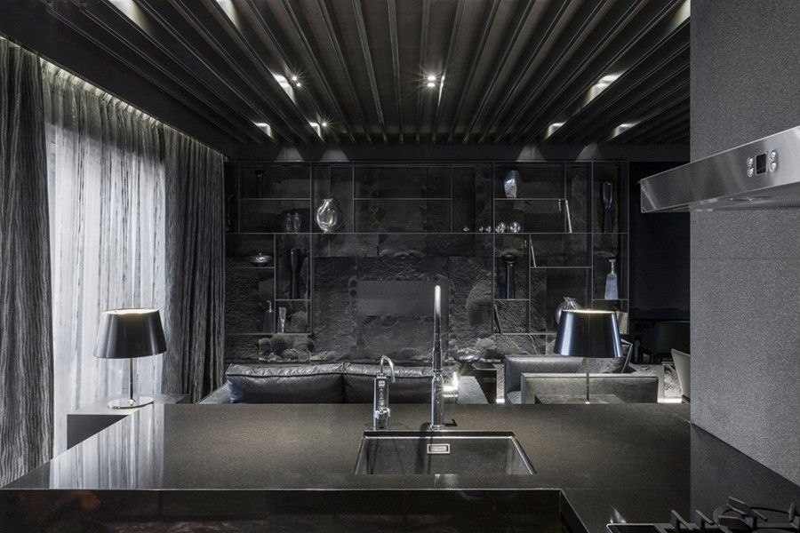 Daring Monochromatic Interior Scheme Home In Black Serenity In