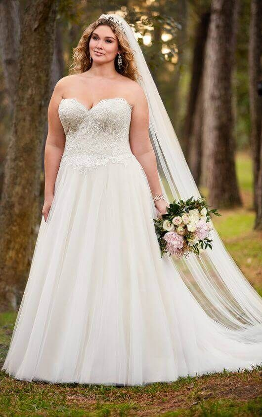 A-Line Plus Size Wedding Dress with Princess Cut Neckline | Stella ...