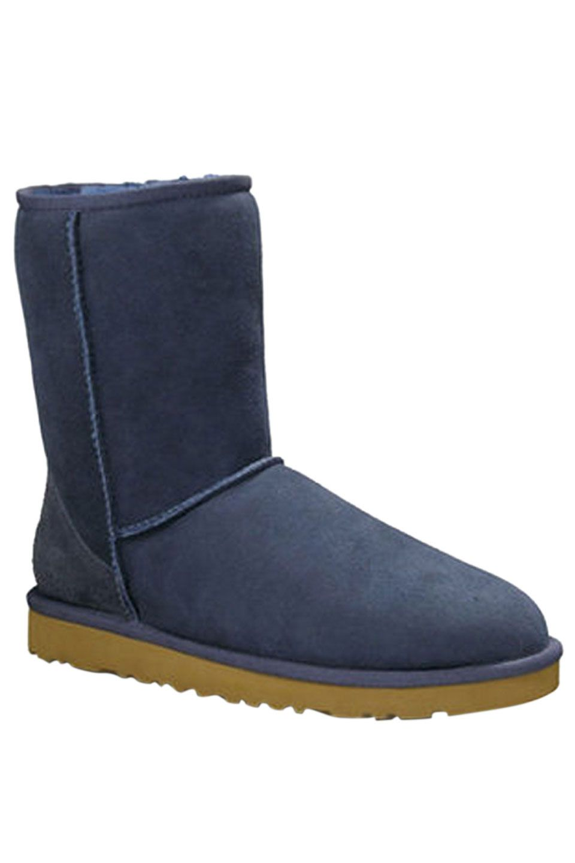 Ugg Ladies Classic Short Boots In Navy Sheepskin