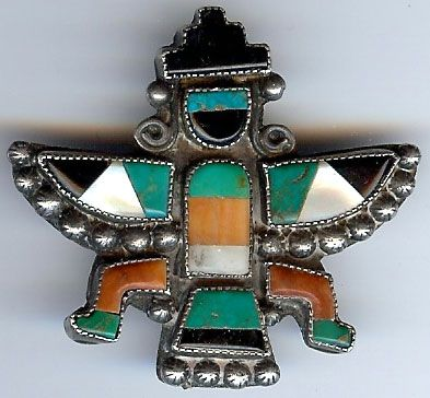 VINTAGE ZUNI INDIAN STERLING INLAID TURQUOISE SHELL CORAL ONYX KNIFEWING MAN PIN