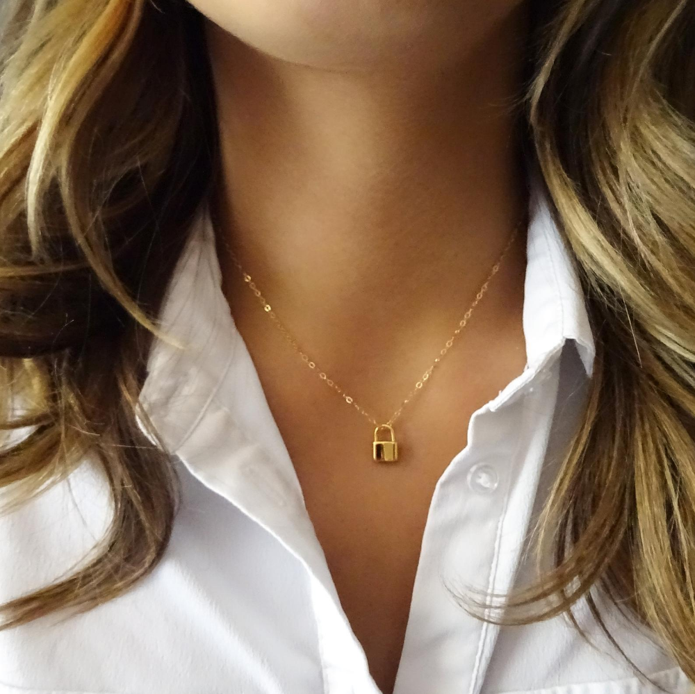 Gold Lock Necklace Gold Padlock Necklace Lock Jewelry Padlock Jewelry Lock And Key 14k Gold Filled Necklace Dainty Gold Necklace Lock Jewelry Lock Necklace Padlock Necklace