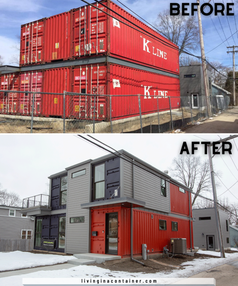 Conversion Of Four Salvaged Shipping Containers Into A Stylish Container Home Living In 2020 Container House Container Homes Australia Shipping Container House Plans