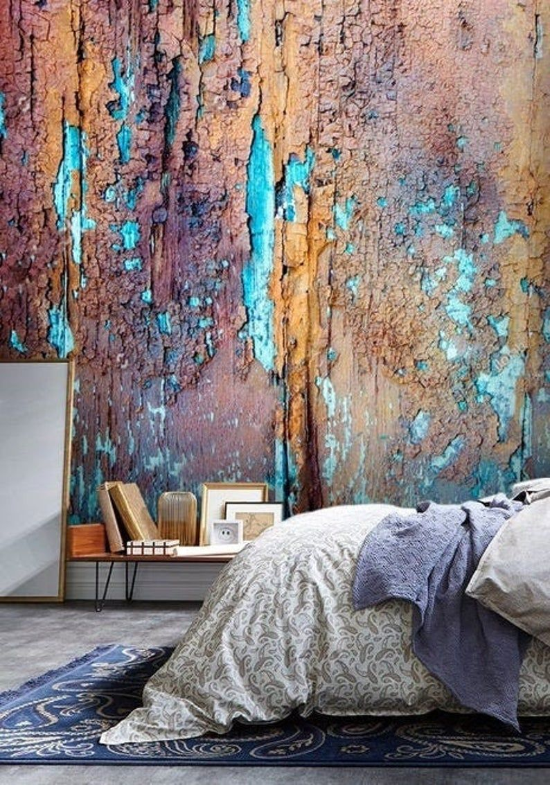 Behang Lijm Vinyl Oude Geschilderde Houttextuur Schil En Etsy Painted Wood Texture Painting On Wood Wall Mural Decals