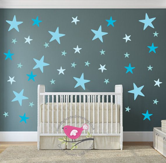 Sterne Aufkleber Blau Kinderzimmer Baby Wandsticker Geometrische Geschlechtsneutral Kleinkind Schlafzimmer