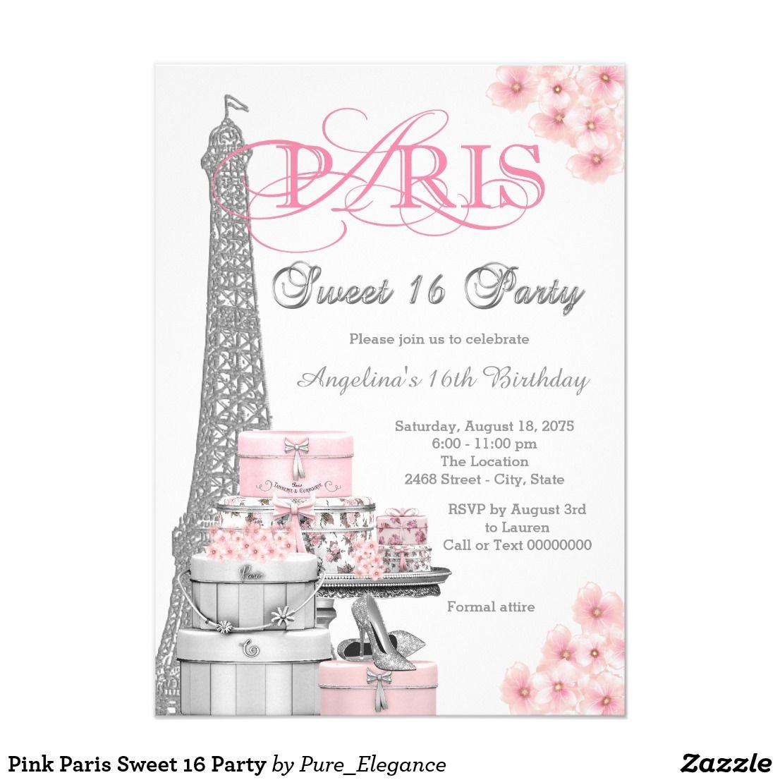 Pink Paris Sweet 16 Party Invitation | Birthday/Sweet Sixteen ...