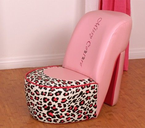 Inspired by a girl's favorite shoe—the high heel—the Missy Couture Shoe Chair is the essential chair for any little diva. Featuring a leopard print and pink faux-leather, this chair is every little girl's dream come true.