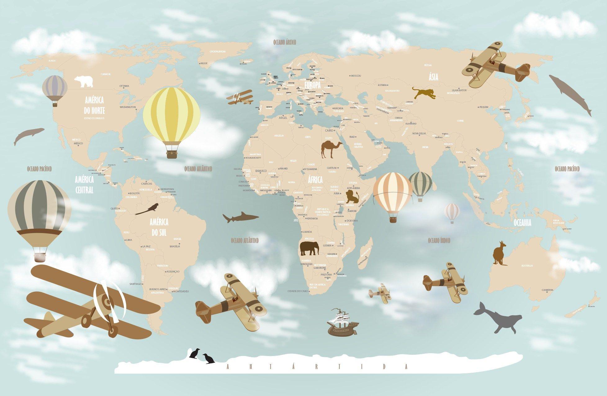 Papel De Parede Mapa Mundi Infantil Super Wings Pinterest  ~ Papel De Parede Mapa Mundi Quarto
