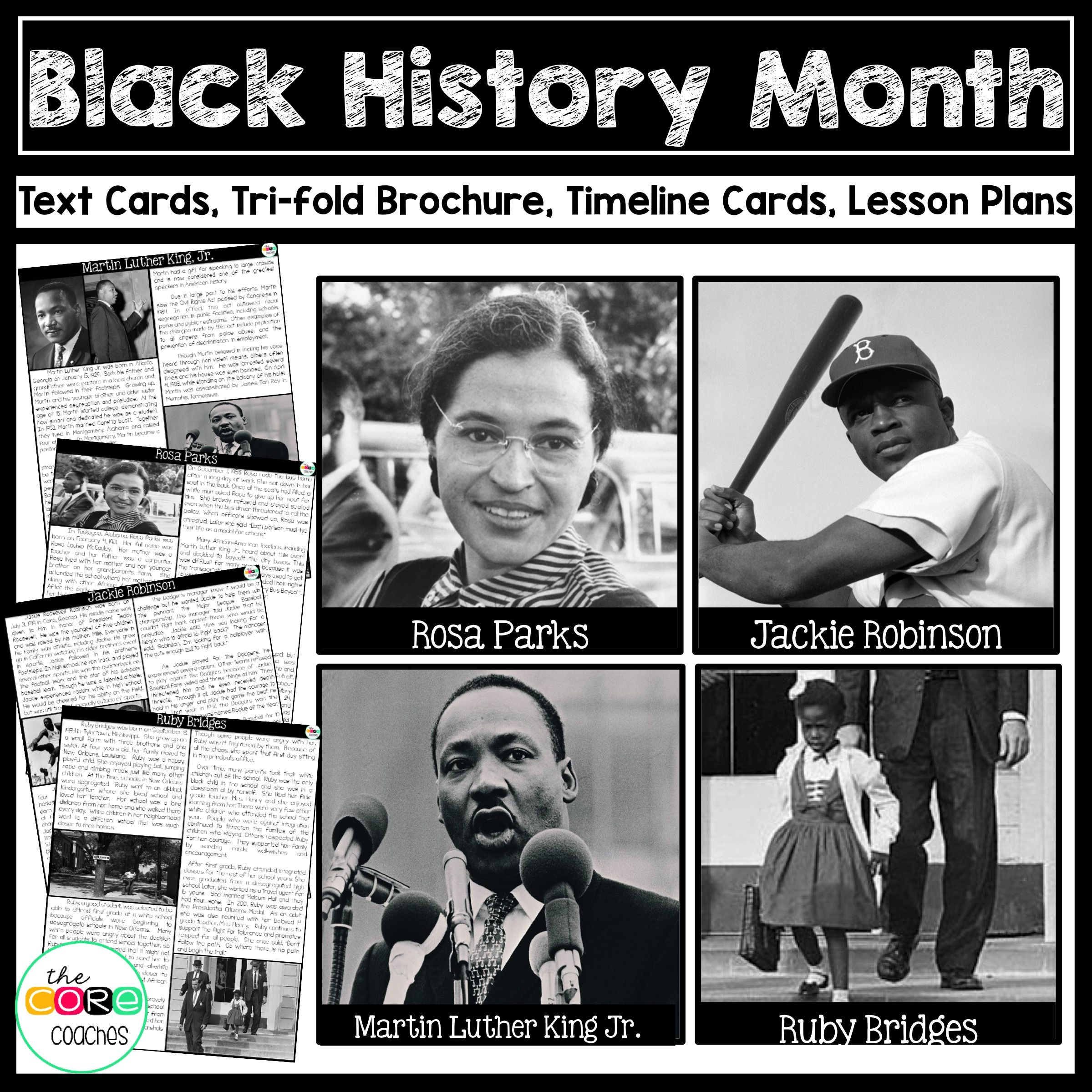 Black History Martin Luther King Jr Ruby Bridges Rosa Parks Jackie Robinson