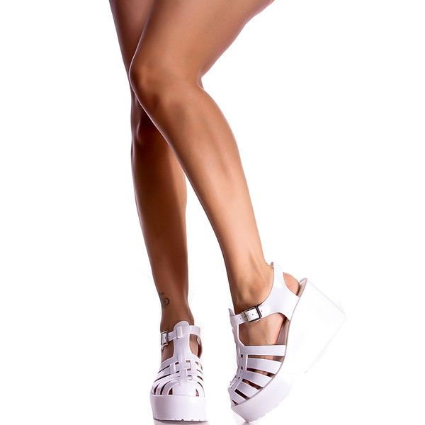 21d46ebeac3 White plastic platform heel sandals. ( 6.99) ❤ liked on Polyvore ...