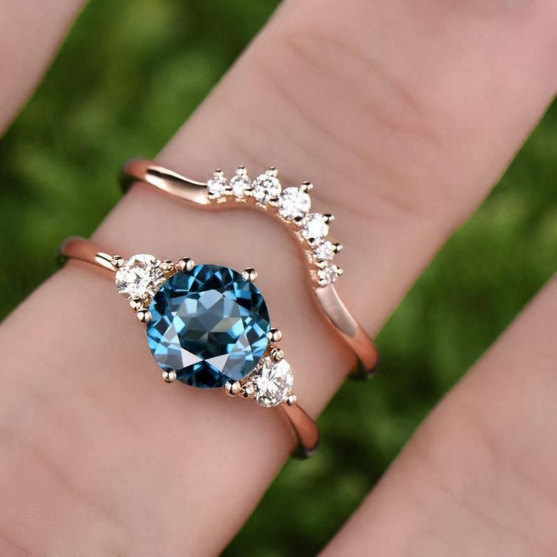 1pc Only The London Blue Topaz Engagement Ring Rose Gold Etsy Sapphire Engagement Ring Blue London Blue Topaz Engagement Rings Sapphire Engagement Ring Set