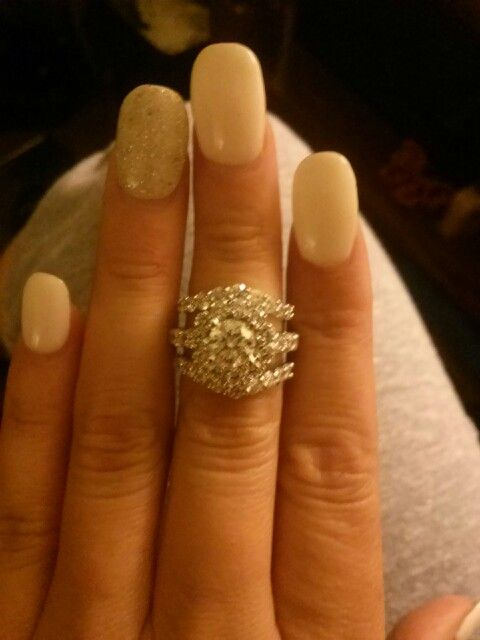 my halo engagement ring with ring guard for wedding bands this was before we said - Wedding Ring Guards