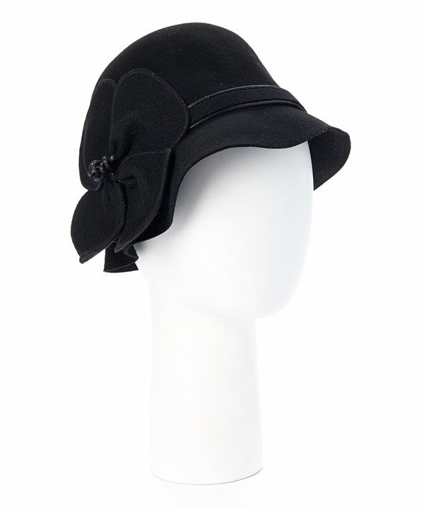 Look at this Jeanne Simmons Accessories Black Rosette Wool Cloche on ...