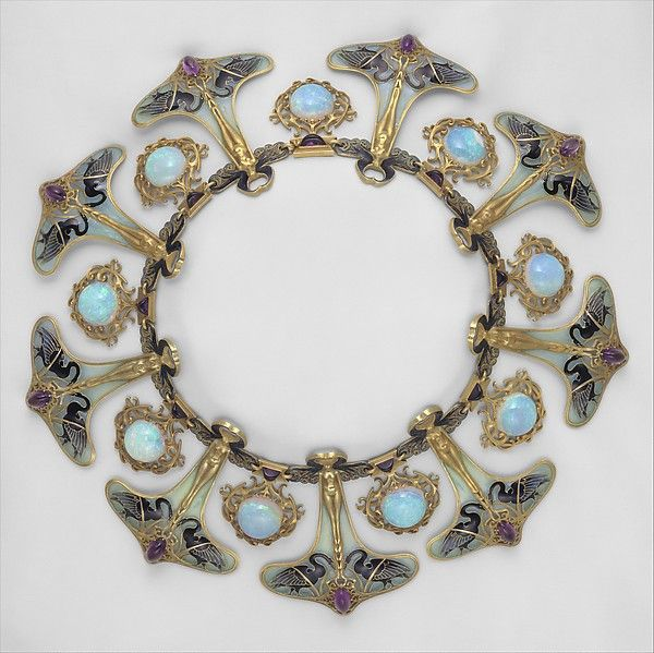 Swan Full Collar Necklace, 1890s, Lalique, Gold, Opals, Sapphires