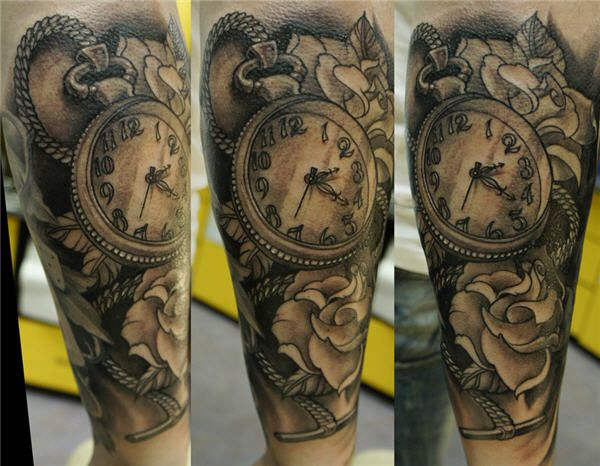 Mens Arm #Tattoo with Clock And Quote \