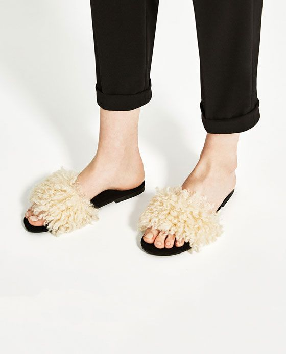 a5f7a3a171f Image 6 of FAUX FUR SLIDES from Zara