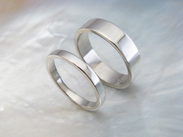 Palladium Wedding Band Set His And Hers Simple Flat Rings