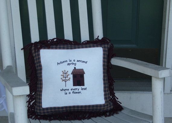 CountryPrimitive embroidered pillow blue by DebsCustomCreations, $50.00
