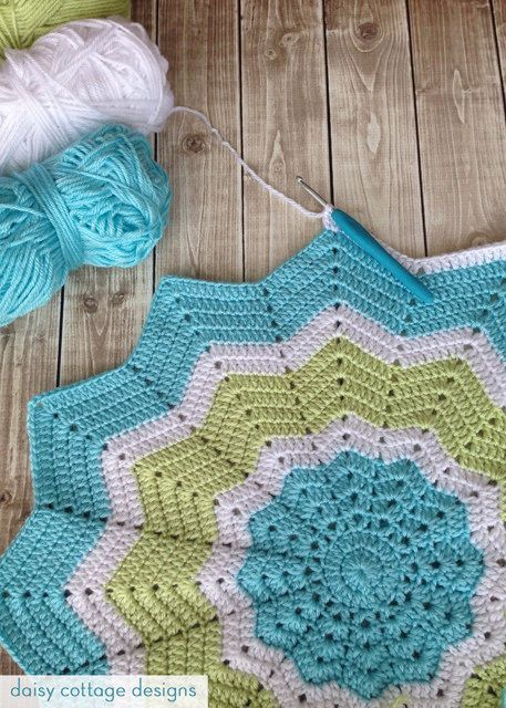 12 Point Star Crochet Baby Blanket This Round Ripple Blanket Is A