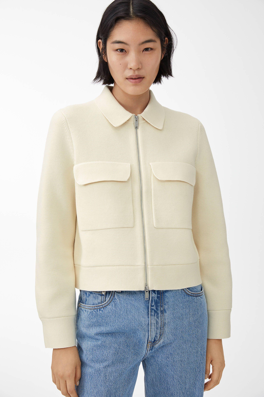 Merino Boxy Jacket Off White Knitwear Arket Be In 2020 White Knitwear Concept Clothing Knitwear
