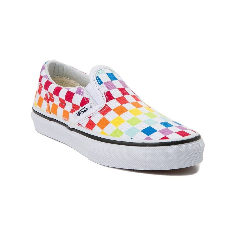 Vans Slip On Rainbow Checkerboard Skate Shoe Little Kid